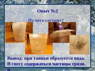 Опыт №2 Из чего состоит? Вывод: при таяньи образуется вода. В снегу содержат