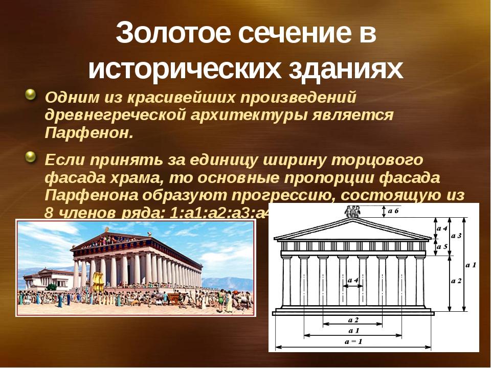 Золотое сечение в исторических зданиях Одним из красивейших произведений древ...