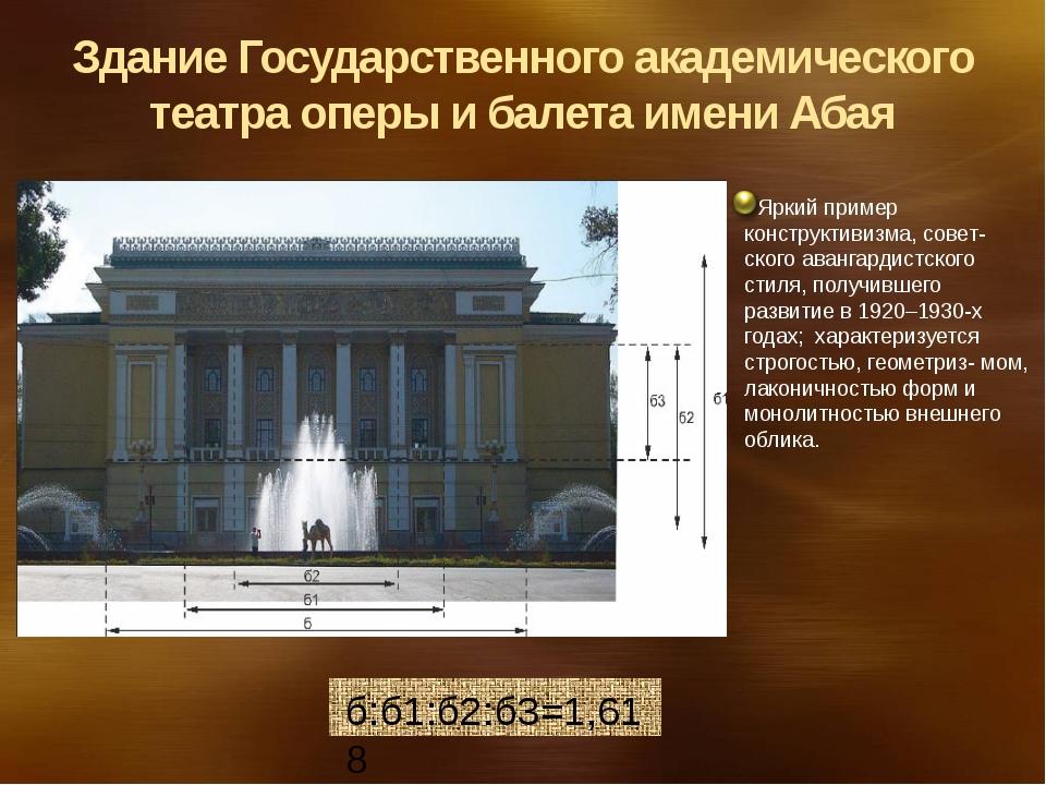 б:б1:б2:б3=1,618 Здание Государственного академического театра оперы и балет...