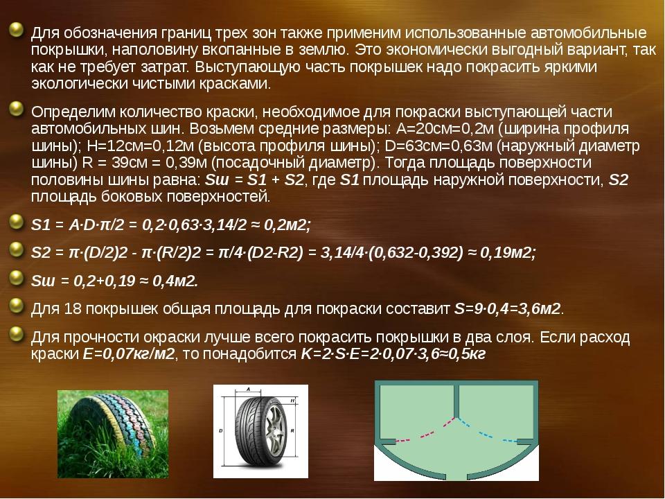 Для обозначения границ трех зон также применим использованные автомобильные п...