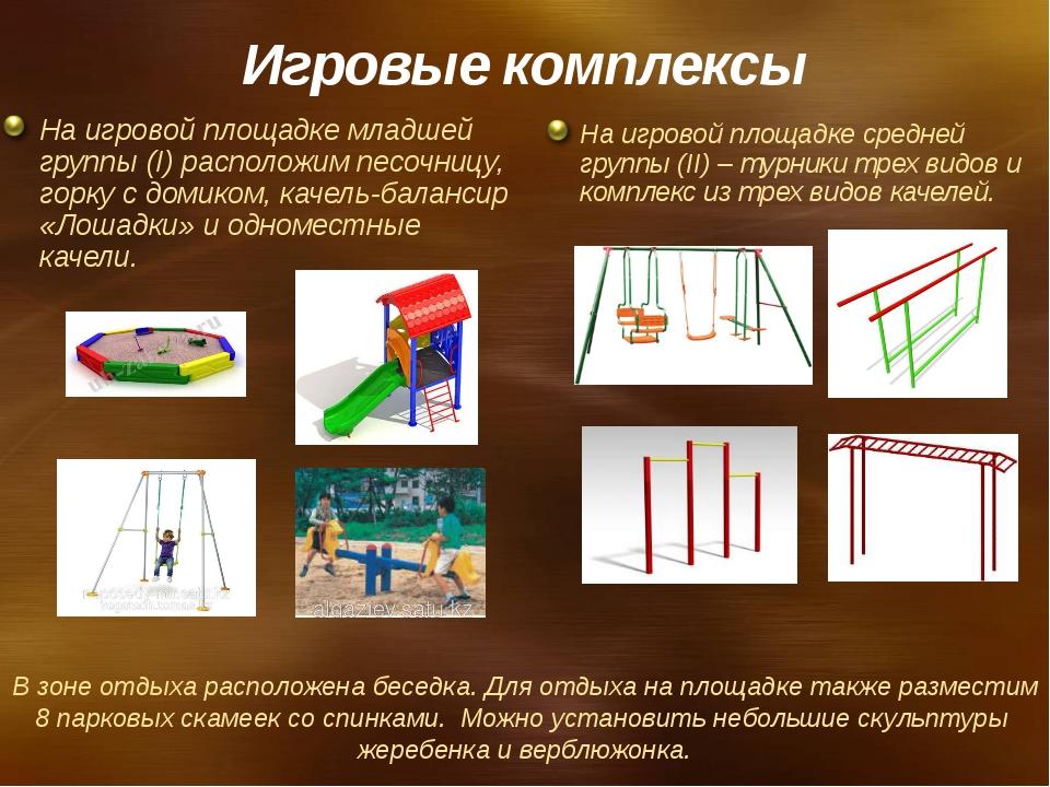 Игровые комплексы На игровой площадке младшей группы (I) расположим песочницу...