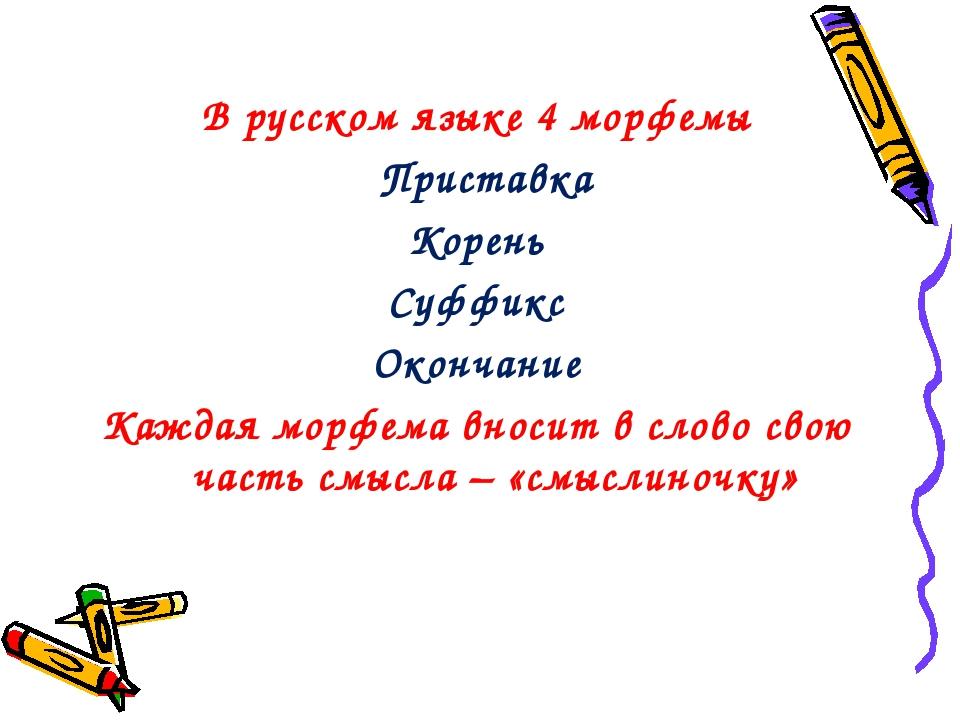 В русском языке 4 морфемы Приставка Корень Суффикс Окончание Каждая морфема в...