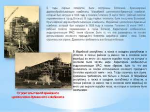 В годы первых пятилеток были построены Волжский, Красноярский деревообрабатыв