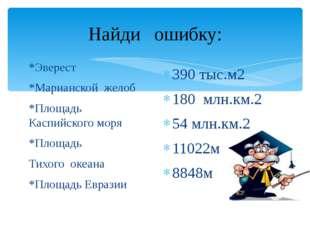 Найди ошибку: *Эверест *Марианской желоб *Площадь Каспийского моря *Площадь Т