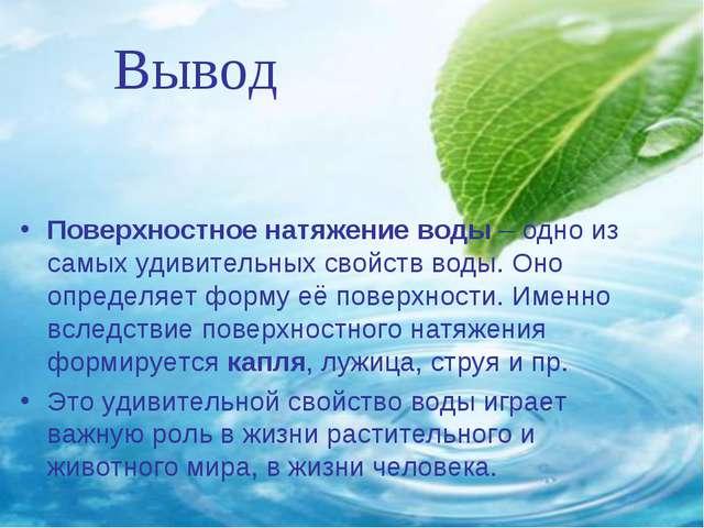 Вывод Поверхностное натяжение воды – одно из самых удивительных свойств воды...