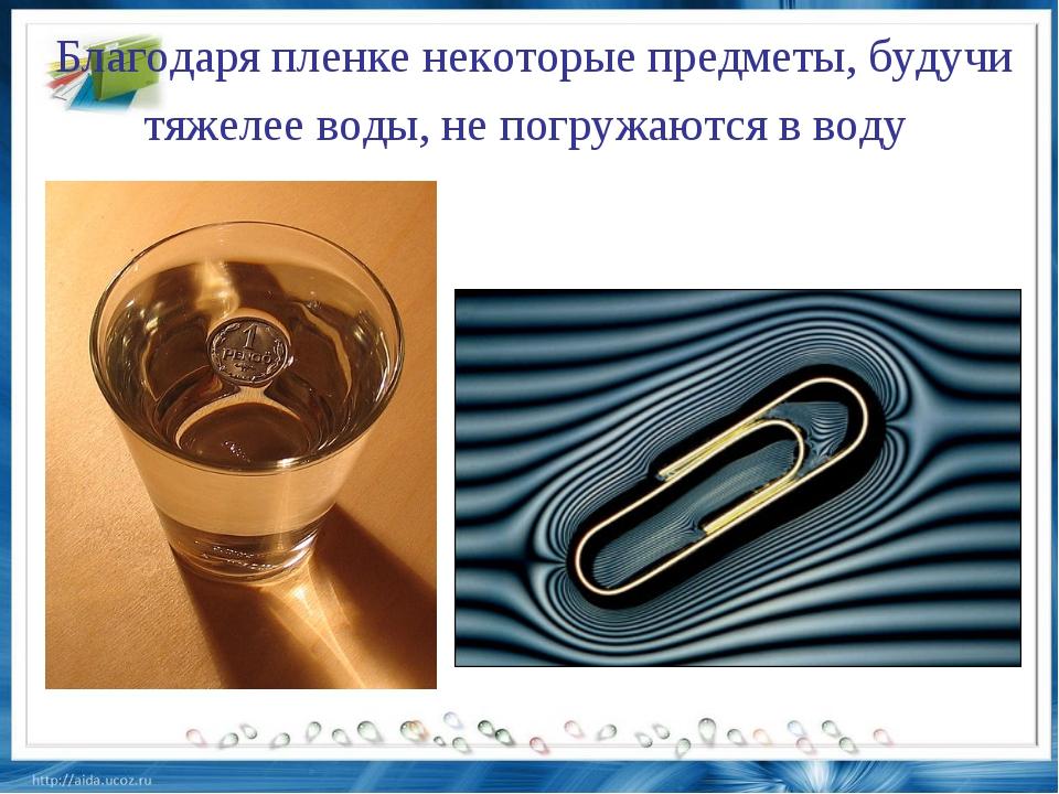 Благодаря пленке некоторые предметы, будучи тяжелее воды, не погружаются в воду