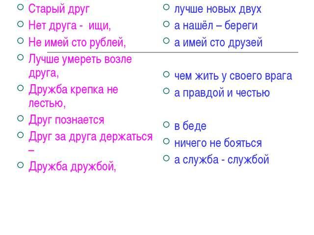 Старый друг Нет друга - ищи, Не имей сто рублей, Лучше умереть возле друга, Д...