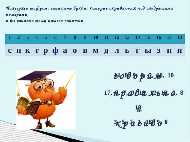 Пользуясь шифром, запишите буквы, которые скрываются под следующими номерами,...