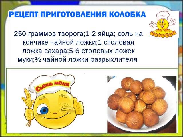 250 граммов творога;1-2 яйца; соль на кончике чайной ложки;1 столовая ложка...