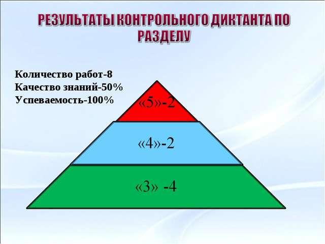 Количество работ-8 Качество знаний-50% Успеваемость-100%