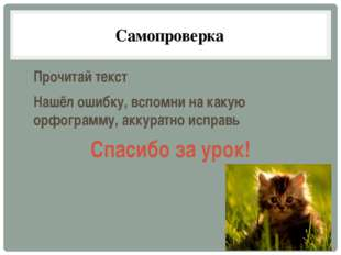 Самопроверка Прочитай текст Нашёл ошибку, вспомни на какую орфограмму, аккура