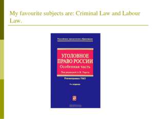 My favourite subjects are: Criminal Law and Labour Law.