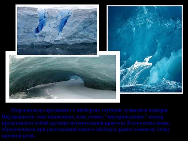 Морская вода промывает в айсбергах глубокие туннели и пещеры. Внутренность э...