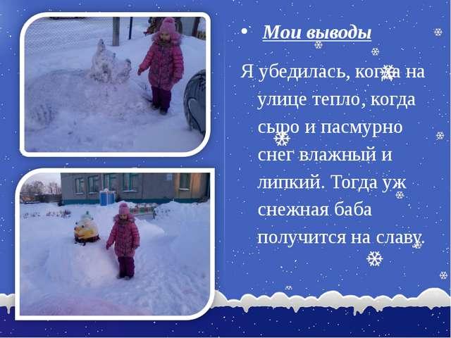 Мои выводы Я убедилась, когда на улице тепло, когда сыро и пасмурно снег вла...