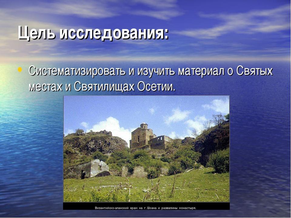 Цель исследования: Систематизировать и изучить материал о Святых местах и Свя...