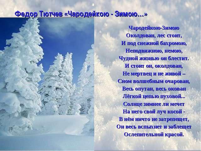 Чародейкою-Зимою Околдован, лес стоит, И под снежной бахромою, Неподвижною, н...