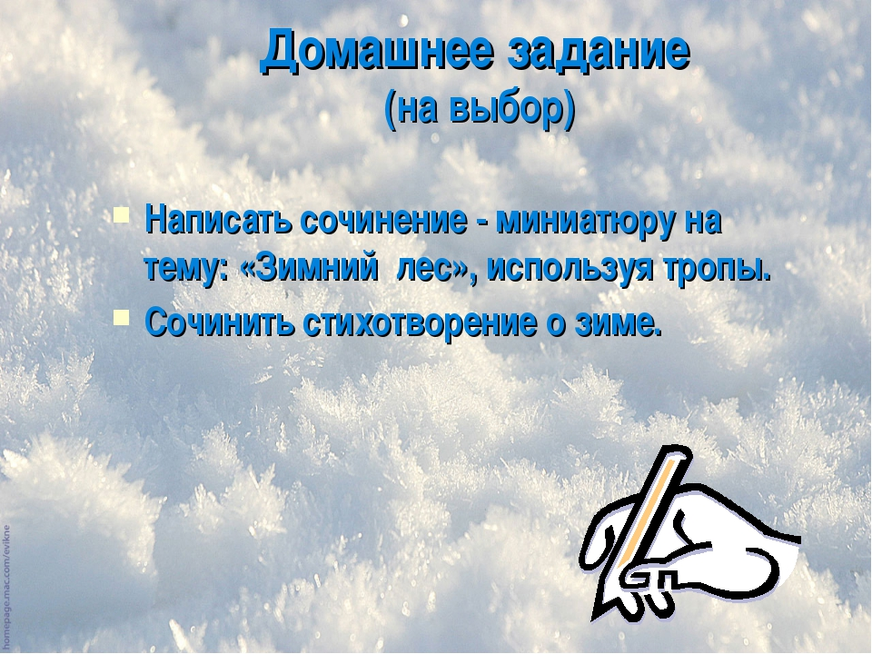 Домашнее задание (на выбор) Написать сочинение - миниатюру на тему: «Зимний л...