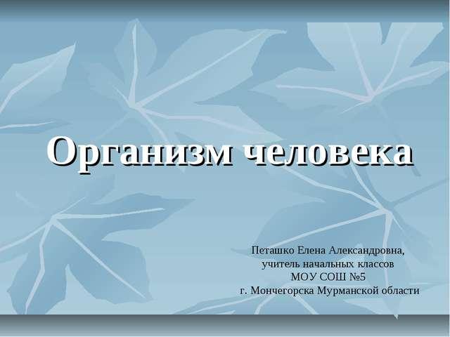 Организм человека Петашко Елена Александровна, учитель начальных классов МОУ...