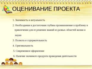 ОЦЕНИВАНИЕ ПРОЕКТА 1. Значимость и актуальность 2. Необходимая и достаточ