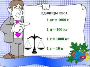 ЕДИНИЦЫ ВЕСА 1 кг = 1000 г 1 ц = 100 кг 1 т = 1000 кг 1 т = 10 ц