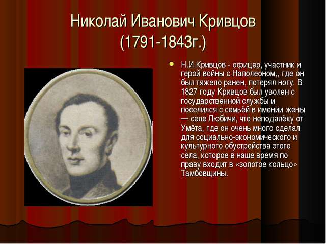 Николай Иванович Кривцов (1791-1843г.) Н.И.Кривцов - офицер, участник и герой...