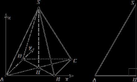 Пирамида SABCD и прямоугольный треугольник AHS