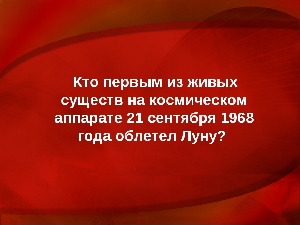 Кто первым из живых существ на космическом аппарате 21 сентября 1968 года обл...