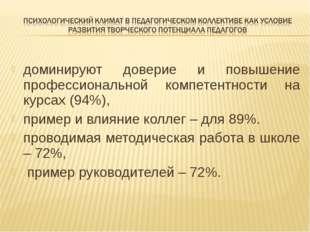 доминируют доверие и повышение профессиональной компетентности на курсах (94%
