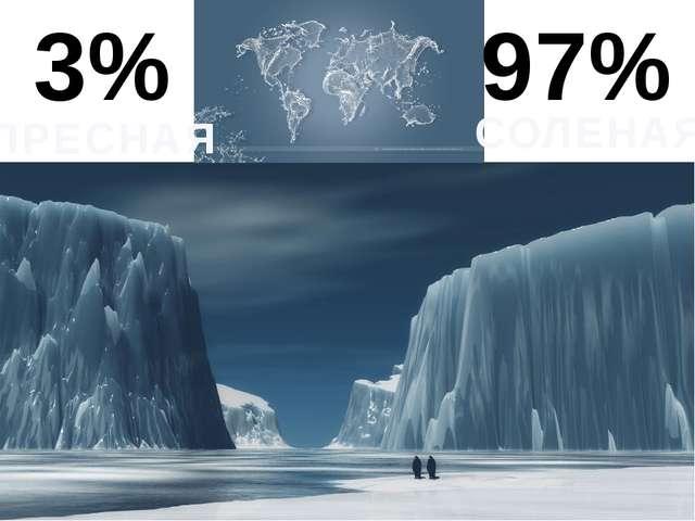 3% 97% ПРЕСНАЯ СОЛЕНАЯ Главное хранилище- это ледники. Но это малая часть от...