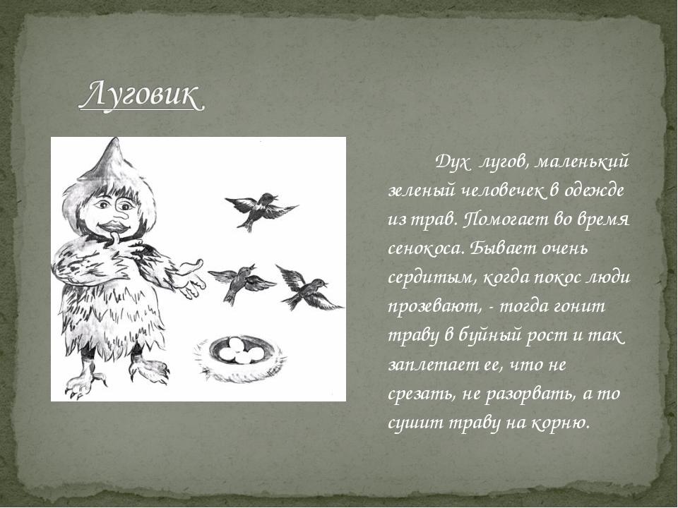 Дух лугов, маленький зеленый человечек в одежде из трав. Помогает во время...