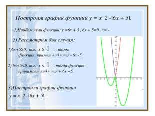 Построим график функции у = x 2 -|6х + 5|. 1)Найдем нули функции: у =6х + 5 ,