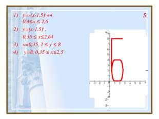 5. y=-(x-1.5)6 +4, 0,4≤x ≤ 2,6 y=(x-1.5)6 , 0,35 ≤ x≤2,64 x=0,35, 2 ≤ y ≤ 8 y