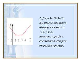 2) f(x)= |x-1|+|x-2|. Вычисляя значение функции в точках 1, 2, 0 и 3, получае