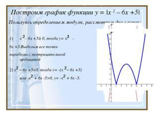 Построим график функции у = |x 2 – 6х +5| Пользуясь определением модуля, рас