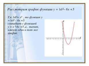 Рассмотрим график функции у = |х|²– 6х +5 Т.к. |x|²= x² , то функция у = |х|²