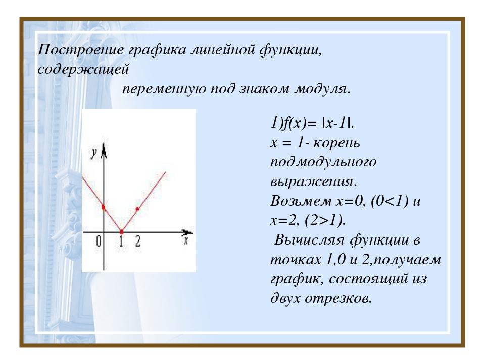 Построение графика линейной функции, содержащей  переменную под знаком модул...