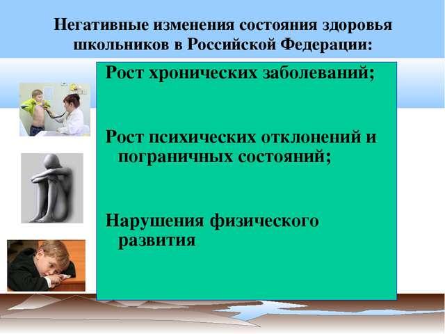 Негативные изменения состояния здоровья школьников в Российской Федерации: Ро...