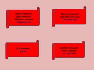 Односложные Двусложные Прилагательные small,cle-ver Многосложные прилагатель