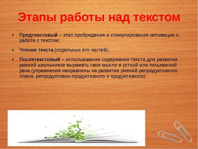 Этапы работы над текстом Предтекстовый – этап пробуждения и стимулирования мо...