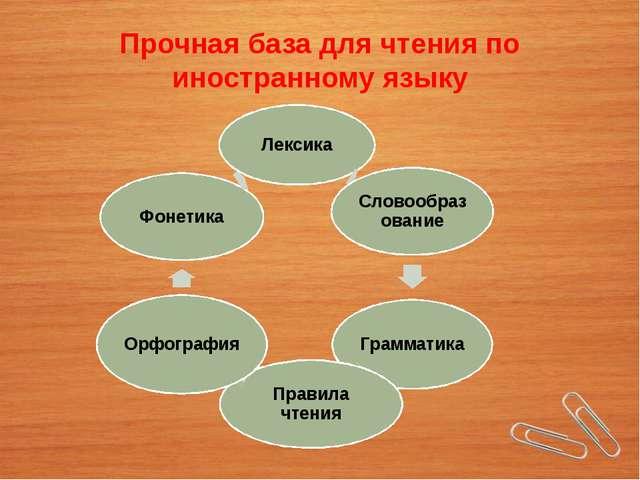Прочная база для чтения по иностранному языку