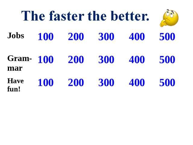 Jobs 100200300400500 Gram- mar100200300400500 Have fun!100200300...