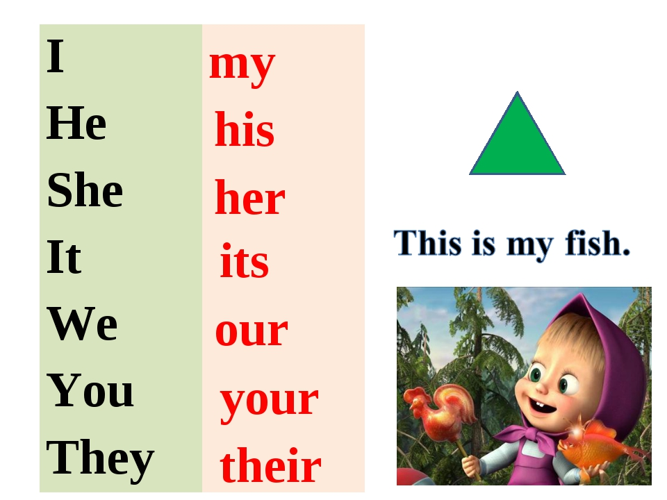 my her our their his its your I He She It We  You They