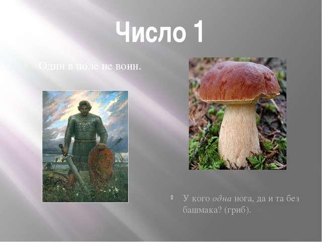 Число 1 Один в поле не воин. У кого одна нога, да и та без башмака? (гриб).