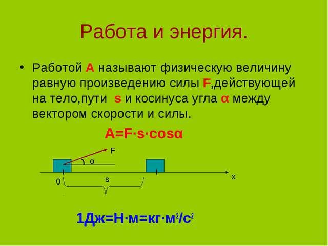 Работа и энергия. Работой А называют физическую величину равную произведению...
