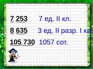7 253 8 635 105 730 7 ед. II кл. 3 ед. II разр. I кл. 1057 сот.