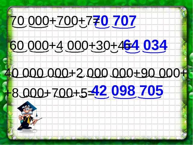 40 000 000+2 000 000+90 000+ +8 000+700+5= 70 707 64 034 42 098 705 70 000+70...