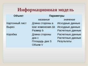 Информационная модель Объект Параметры название значение Картонный лист Длина