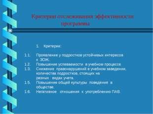 1.  Критерии: 1.1. Проявление у подростков устойчивых интересов к ЗОЖ.