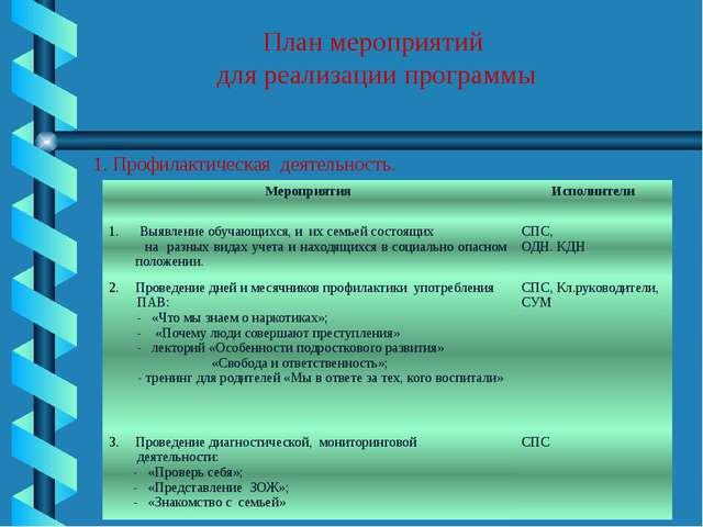 План мероприятий для реализации программы 1. Профилактическая деятельность....