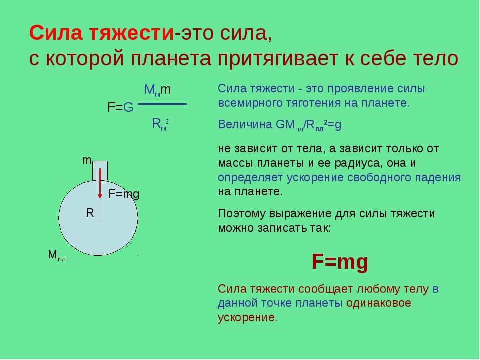 Сила тяжести-это сила, с которой планета притягивает к себе тело Mплm F=G Rпл...